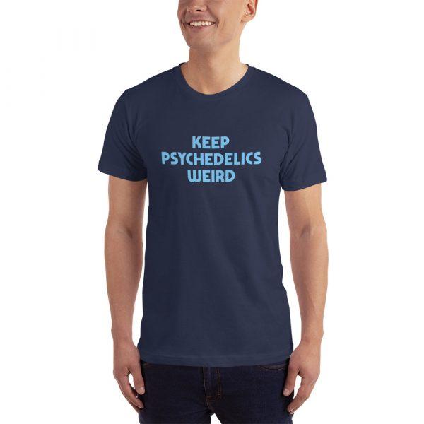 keep psychedelics weird mens t shirt navy