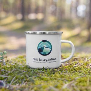 tam integration logo enamel mug